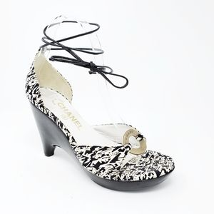Chanel Canvas Wedge Sandals Ankle Wrap Lace up